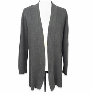 JM Collection gray open front long sleeve cardigan
